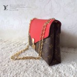 LV M41201 新款女士紅色PALLAS CHAIN系列鏈條晚宴包信封包