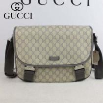 GUCCI 201732-1  新款古馳灰色PVC配牛皮男士斜挎包 時尚單肩包
