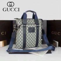 GUCCI 268482-2 古馳新款藍色PVC配牛皮男士單肩斜背包 時尚手提男包包