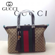 GUCCI 309621-9 古馳新款杏色布配咖啡色皮紅綠織帶 女士手提包 時尚單肩斜背包
