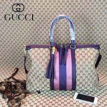 GUCCI 309621-7 古馳新款杏色布配深紫色皮 女士手提包 時尚單肩斜背包