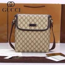 GUCCI 223666-1  古馳新款咖啡色PVC男士單間包 時尚斜跨斜背包