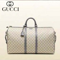 GUCCI 206500-6 新款古馳灰色PVC配牛皮旅行袋 時尚旅行包