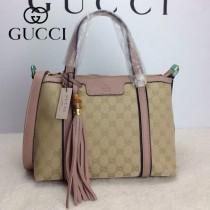 GUCCI 353114-3 古馳新款杏布配裸粉色皮 單肩斜背包 流蘇手提包