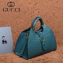 GUCCI 277514-15 古馳新款藍色鱷魚紋全皮女士手提包