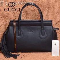 GUCCI 354469 古馳新款黑色全皮女士時尚手提包 流蘇包