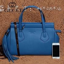 GUCCI 354469-2 古馳新款藍色全皮女士時尚手提包 流蘇包
