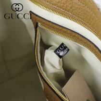 GUCCI 323675-5 古馳新款女士手提包 杏布配土黃皮