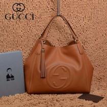 GUCCI 282309-9 古馳新款中號土黃色全皮女士手提包 時尚單肩包