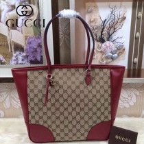 GUCCI 323671-7 古馳新款杏布配棗紅色皮女士手提包 休閒購物袋