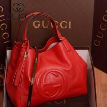 GUCCI 282309-4 古馳新款中號紅色全皮女士手提包 時尚單肩包