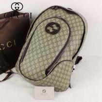 GUCCI 223705 古馳咖啡色PVC雙肩背包 旅行休閒書包