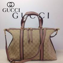 GUCCI 309621-4 古馳新款杏色布配粉色皮 女士手提包 時尚單肩斜背包