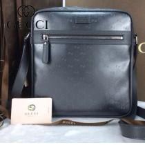 GUCCI 201448-6 古馳新款鐵灰色PVC配牛皮男士斜背包  時尚單肩包