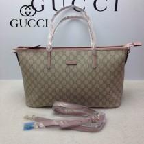 GUCCI 353437-1 古馳新款PVC配粉色皮 女士單肩斜背包