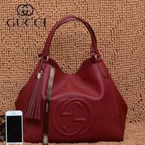 GUCCI 282309-10 古馳新款中號棗紅色全皮女士手提包 時尚單肩包