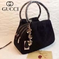 GUCCI 223918 古馳新款黑色布配黑色皮 手提包 氣質女士包包