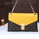 LV M41246 新款女士黃色PALLAS CHAIN系列鏈條晚宴包信封包