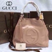 GUCCI 282309-3 古馳新款中號粉色漆皮女士手提包 時尚單肩包