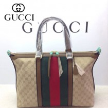 GUCCI 309621-10 古馳新款杏色布配卡其色皮紅綠織帶 女士手提包 時尚單肩斜背包