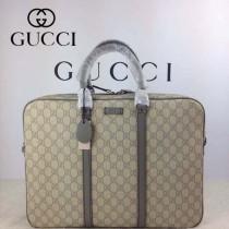 GUCCI 201480-5 古馳新款灰色PVC男士電腦包  時尚手提包公文包