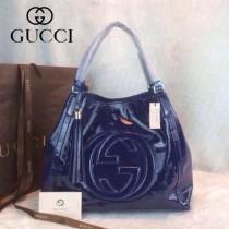GUCCI 282309-6 古馳新款中號藍粉色漆皮女士手提包 時尚單肩包