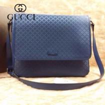 GUCCI 355333 古馳新款寶藍色格紋全皮男士單肩斜背包