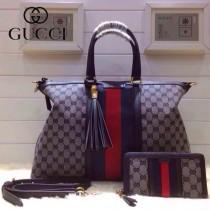 GUCCI 309621-3 古馳新款藍色布配皮 女士手提包 時尚單肩斜背包