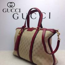 GUCCI 309621-8 古馳新款杏色布配棗紅色皮 女士手提包 時尚單肩斜背包