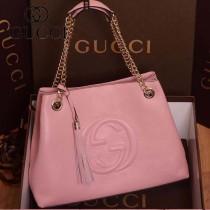 GUCCI 308982-02 古馳新款粉色全皮 女士手提包 時尚單肩包