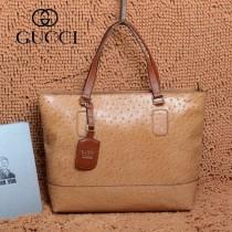 GUCCI 357049 古馳新款女士杏色鴕鳥紋牛皮手提包