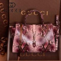 GUCCI 365461-5 古馳新款酒紅色蛇紋氣質女士手提包