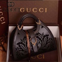 GUCCI 277514-11 古馳新款黑色激光繡花全皮女士手提包