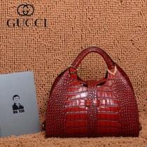 GUCCI 277514-12 古馳新款紅色鱷魚紋全皮女士手提包