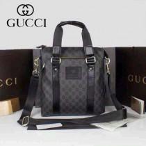 GUCCI 268482-1 古馳新款黑色PVC配牛皮男士單肩斜背包 時尚手提男包包
