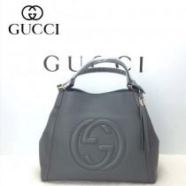GUCCI 282309-8 古馳新款中號鐵灰色全皮女士手提包 時尚單肩包