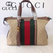 GUCCI 309621-5 古馳新款杏色布配粉色皮配織帶 女士手提包 時尚單肩斜背包