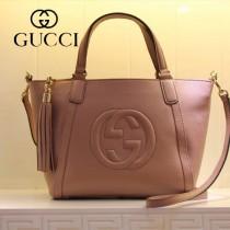 GUCCI 369176-5 古馳新款女士裸粉色全皮單肩手提包