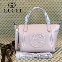 GUCCI 369176-8 古馳新款女士珠光粉全皮單肩手提包