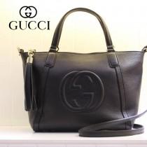 GUCCI 369176-1 古馳新款女士黑色全皮單肩手提包