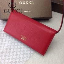 GUCCI 369231-2 古馳新款紅色全皮手拿包 女士長款錢夾
