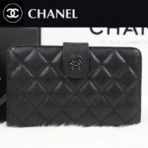CHANEL A48667-4 潮流黑色手拿包搭扣原版錢夾菱形格子錢包