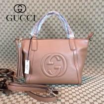 GUCCI 369176 古馳新款女士粉色全皮單肩手提包