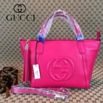 GUCCI 369176-6 古馳新款女士玫紅色全皮單肩手提包
