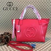 GUCCI 369176-3 古馳新款女士紅色全皮單肩手提包