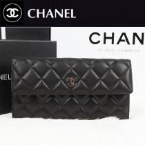 CHANEL A48983-2 新款黑色羊皮 菱格紋皮夾原版皮兩折長款錢包