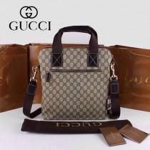 GUCCI 854362-2 古馳新款咖啡色PVC配牛皮男士單肩斜背包