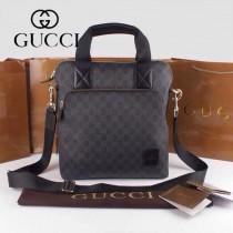 GUCCI 854362-1 古馳新款黑色PVC配牛皮男士單肩斜背包