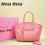MiuMiu 0068 -03 時尚休閒櫻花粉原版皮女性包包手提包