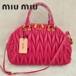 MiuMiu0058-6時尚休閒褶皺玫紅羊皮女包手提包